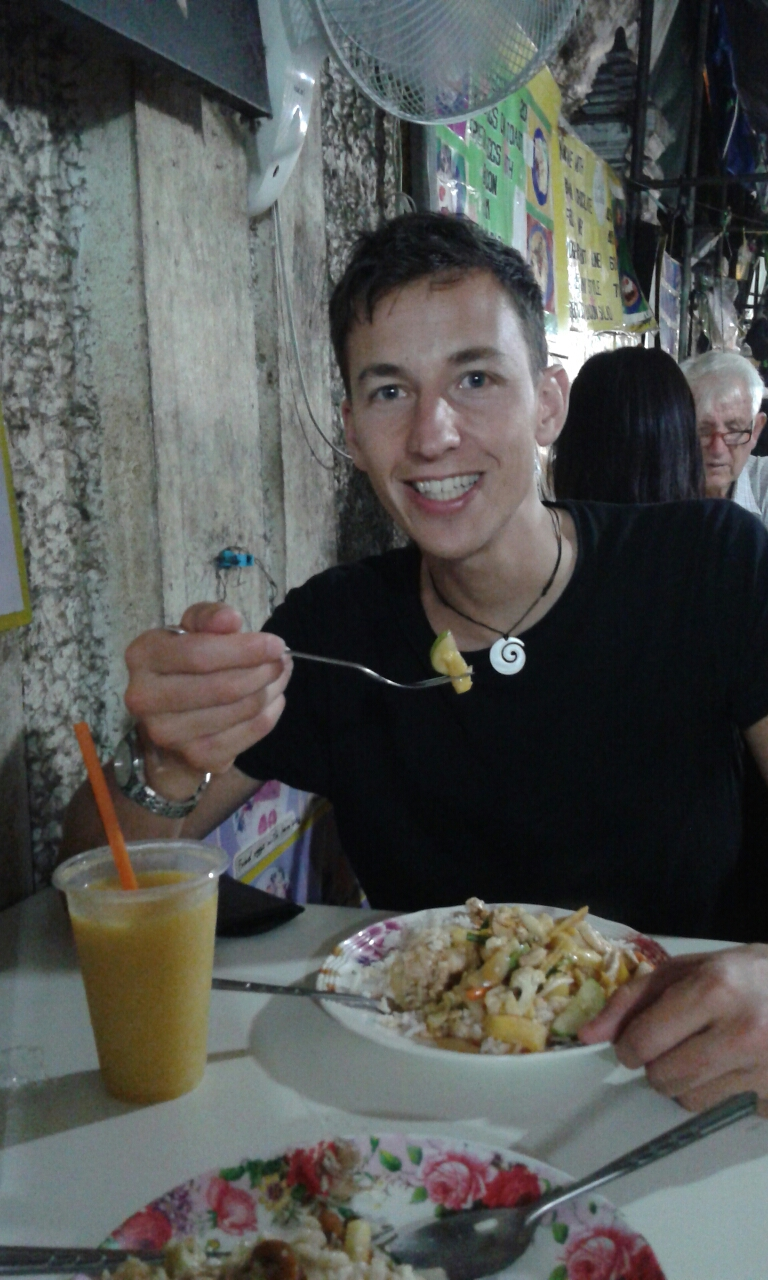 eten, bangkok, sven, rijst, sweet and sour chicken, op straat, mangoshake, fida, travel, reis